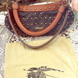 Authentic Burberry Studded Denim Handbag MINT!!!